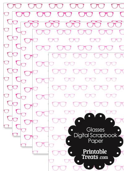 Pink Glasses Digital Scrapbook Paper from PrintableTreats.com