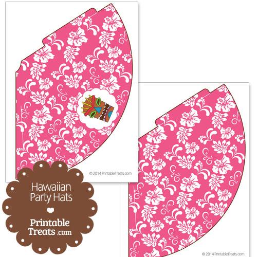 pink Hawaiian party hat printable