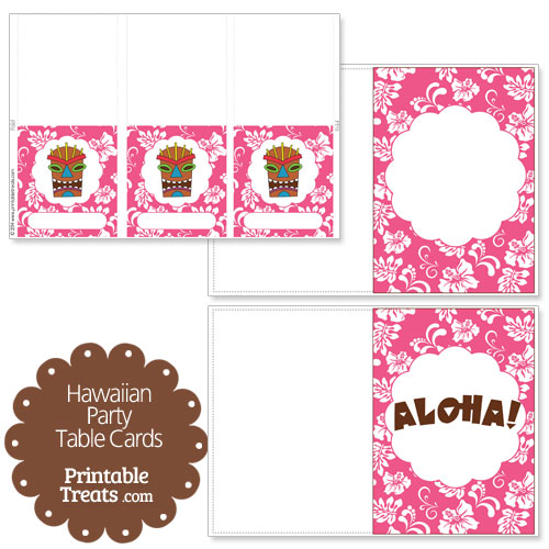 pink Hawaiian party table cards