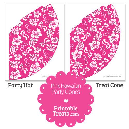 pink Hawaiian pattern party cones