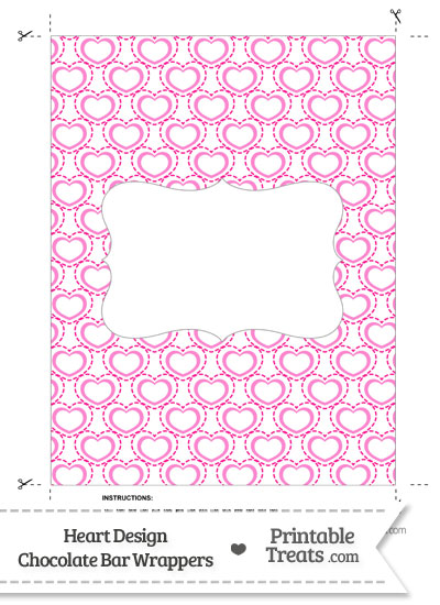 Pink Heart Design Chocolate Bar Wrappers from PrintableTreats.com