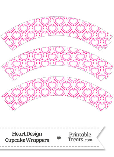 Pink Heart Design Cupcake Wrappers from PrintableTreats.com
