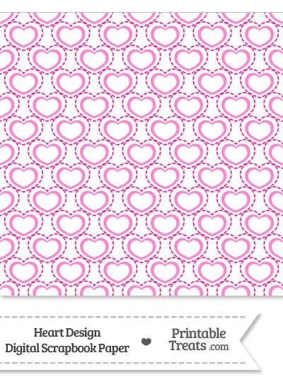 Pink Heart Design Digital Scrapbook Paper from PrintableTreats.com