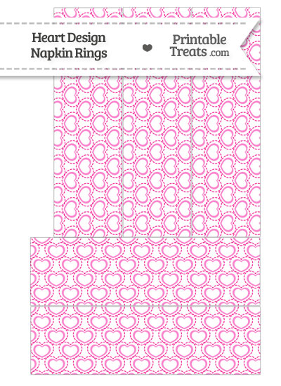 Pink Heart Design Napkin Rings from PrintableTreats.com