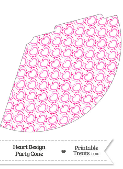 Pink Heart Design Party Cone from PrintableTreats.com