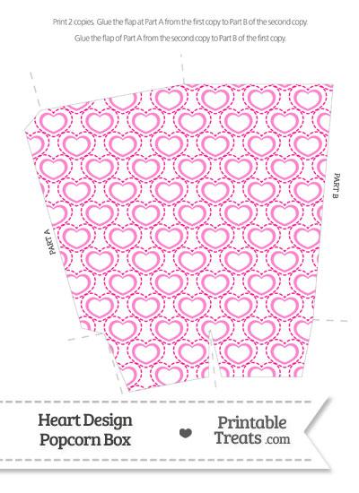 Pink Heart Design Popcorn Box from PrintableTreats.com