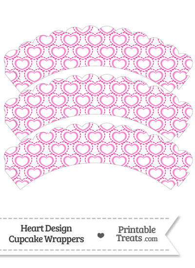 Pink Heart Design Scalloped Cupcake Wrappers from PrintableTreats.com