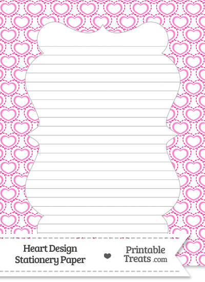 Pink Heart Design Stationery Paper from PrintableTreats.com
