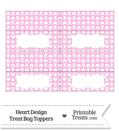 Pink Heart Design Treat Bag Toppers from PrintableTreats.com