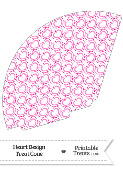 Pink Heart Design Treat Cone from PrintableTreats.com