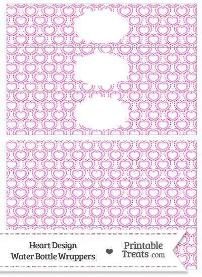 Pink Heart Design Water Bottle Wrappers from PrintableTreats.com