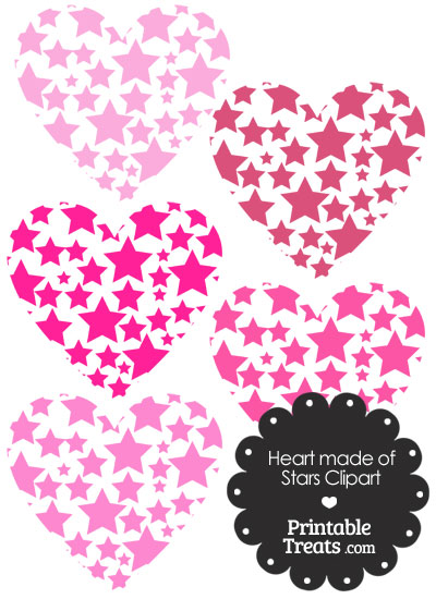 Pink Heart Made of Stars Clipart from PrintableTreats.com