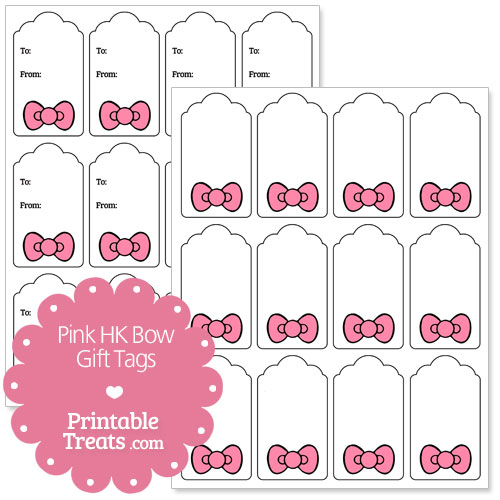 pink Hello Kitty bow gift tags