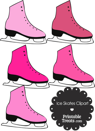 Pink Ice Skates Clipart from PrintableTreats.com