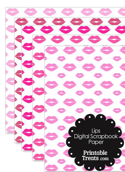 Pink Lips Digital Scrapbook Paper from PrintableTreats.com