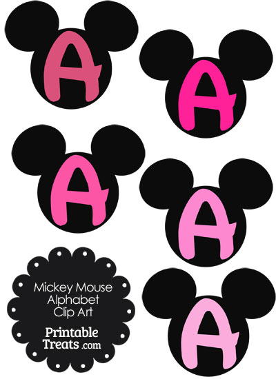 Pink Mickey Mouse Head Letter A Clipart from PrintableTreats.com