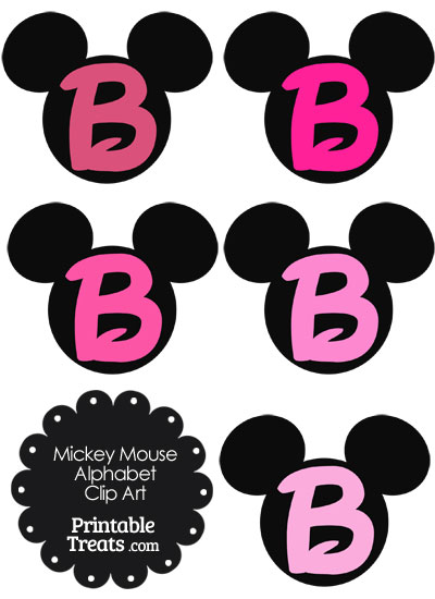 Pink Mickey Mouse Head Letter B Clipart from PrintableTreats.com
