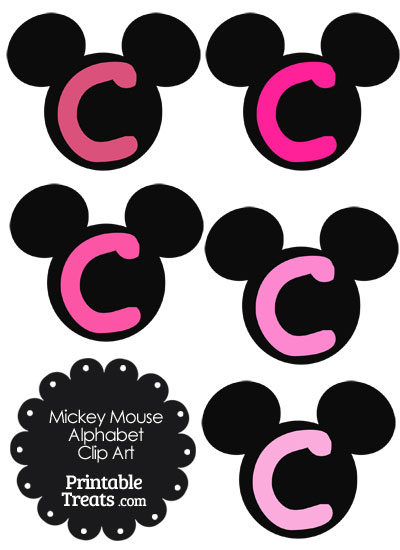 Pink Mickey Mouse Head Letter C Clipart from PrintableTreats.com