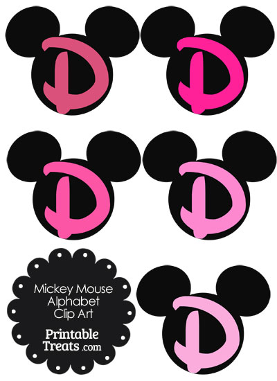 Pink Mickey Mouse Head Letter D Clipart from PrintableTreats.com