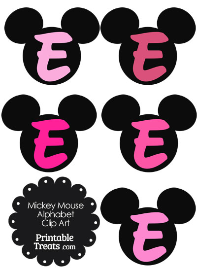 Pink Mickey Mouse Head Letter E Clipart from PrintableTreats.com