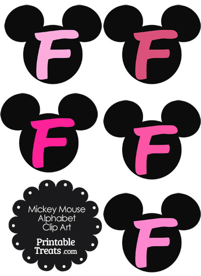Pink Mickey Mouse Head Letter F Clipart from PrintableTreats.com