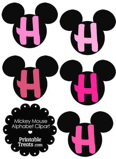 Pink Mickey Mouse Head Letter H Clipart from PrintableTreats.com