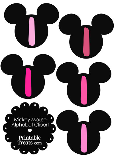 Pink Mickey Mouse Head Letter I Clipart from PrintableTreats.com