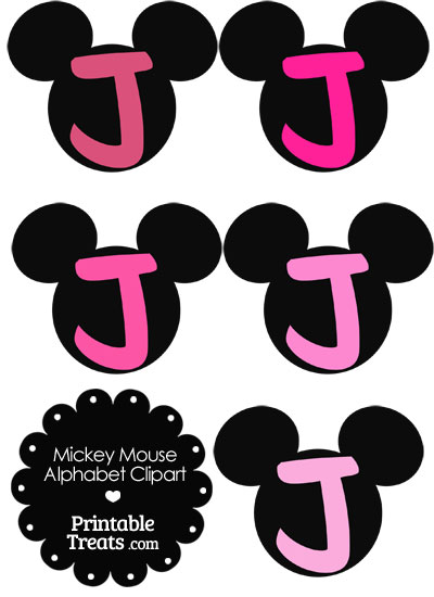 Pink Mickey Mouse Head Letter J Clipart from PrintableTreats.com