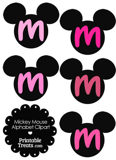 Pink Mickey Mouse Head Letter M Clipart from PrintableTreats.com