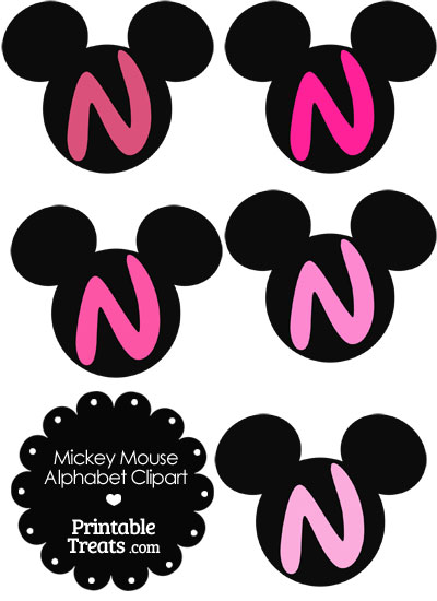 Pink Mickey Mouse Head Letter N Clipart from PrintableTreats.com