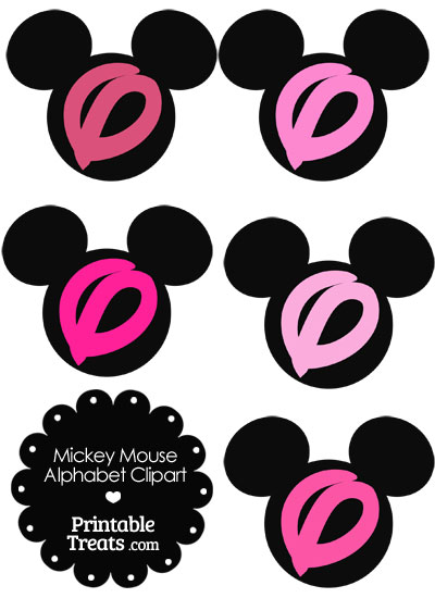 Pink Mickey Mouse Head Letter O Clipart from PrintableTreats.com