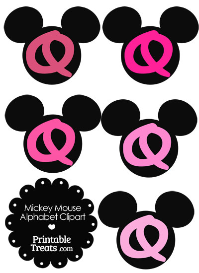 Pink Mickey Mouse Head Letter Q Clipart from PrintableTreats.com