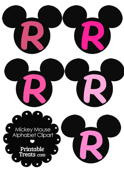 Pink Mickey Mouse Head Letter R Clipart from PrintableTreats.com