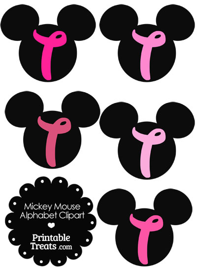 Pink Mickey Mouse Head Letter T Clipart from PrintableTreats.com