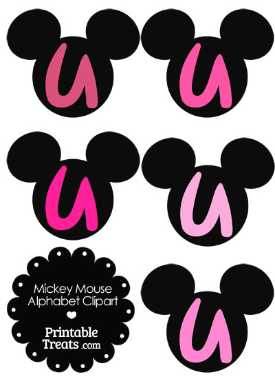 Pink Mickey Mouse Head Letter U Clipart from PrintableTreats.com