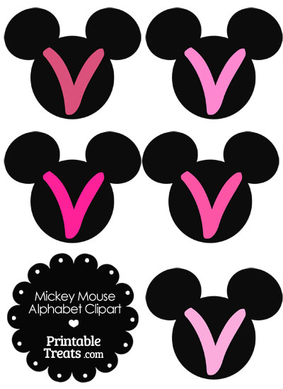 Pink Mickey Mouse Head Letter V Clipart from PrintableTreats.com