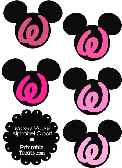 Pink Mickey Mouse Head Letter W Clipart from PrintableTreats.com