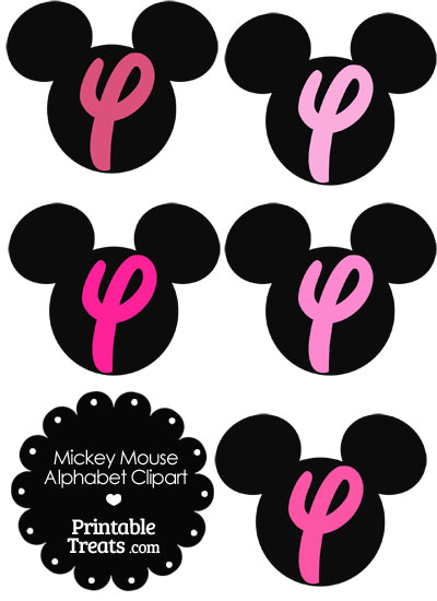 Pink Mickey Mouse Head Letter Y Clipart from PrintableTreats.com