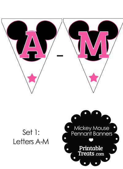 Pink Mickey Mouse Pennant Banner Letters A-M from PrintableTreats.com