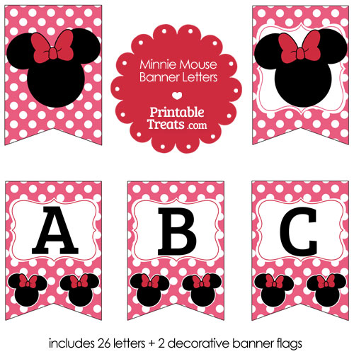 pink Minnie Mouse banner letters