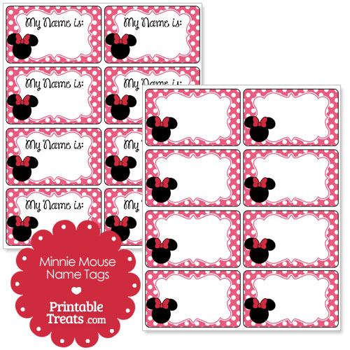 pink Minnie Mouse name tags