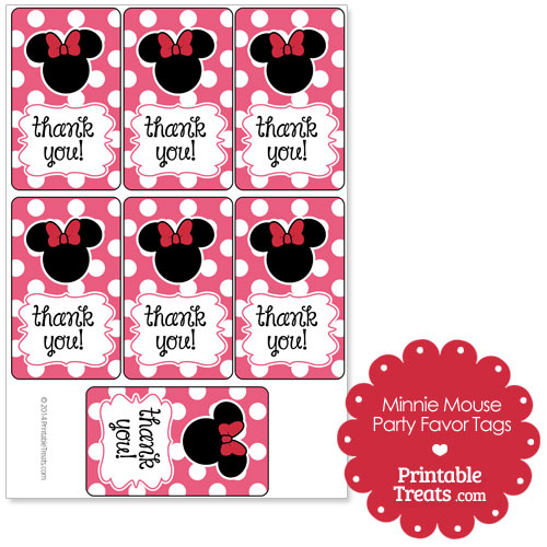 pink Minnie Mouse party favor tags