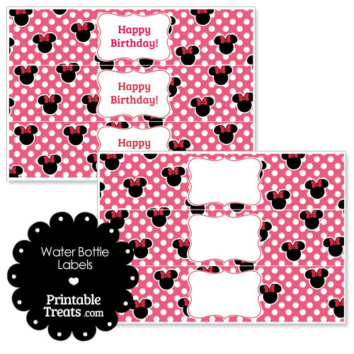pink Minnie Mouse water bottle wrappers