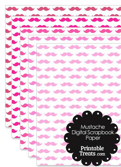 Pink Mustache Digital Scrapbook Paper from PrintableTreats.com