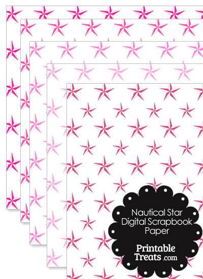 Pink Nautical Star Digital Scrapbook Paper from PrintableTreats.com