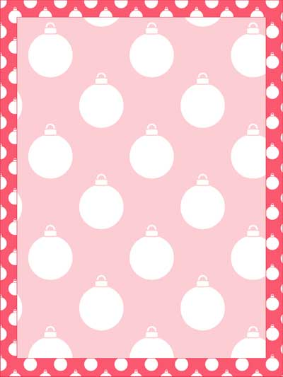 pink christmas ornament stationery