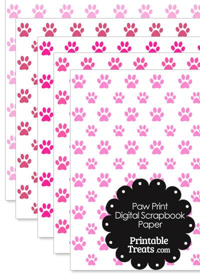 Pink Paw Print Digital Scrapbook Paper from PrintableTreats.com
