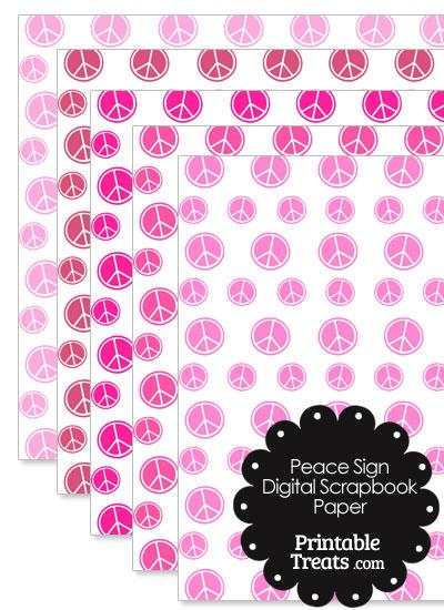 Pink Peace Sign Digital Scrapbook Paper from PrintableTreats.com
