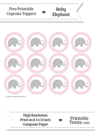 Pink Polka Dot Baby Elephant Cupcake Toppers from PrintableTreats.com