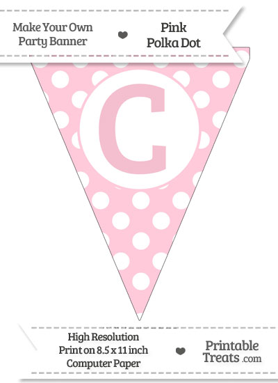 Pink Polka Dot Pennant Flag Capital Letter C from PrintableTreats.com